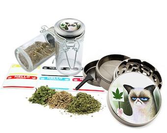 "Want It - 2.5"" Zinc Alloy Grinder & 75ml Locking Top Glass Jar Combo Gift Set Item # 50G102015-42"