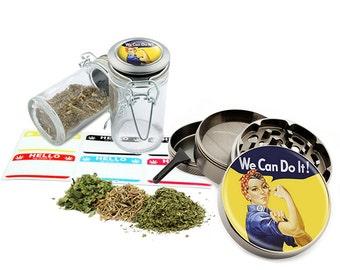 "We Can Do It - 2.5"" Zinc Alloy Grinder & 75ml Locking Top Glass Jar Combo Gift Set Item # G021615-032"