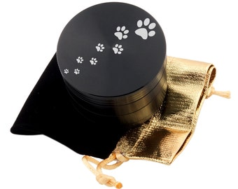 "Paw Prints Laser Etched Design 2.5"" Large Size Herb Grinder Item # ETCH-G013017-37"