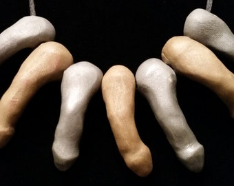 DickeyDick - 7 Piece Silver and Gold Penis Bead Dicklace