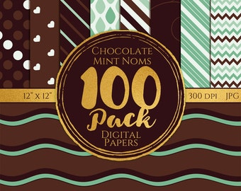 Digital Paper 100 Pack - Chocolate Mint - Commercial Use