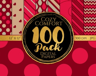 Digital Paper 100 Pack - Cozy Comfort - Commercial Use, Cozy Comfort Digital Patterns