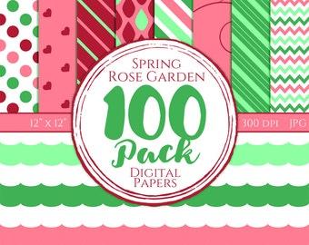 Digital Paper 100 Pack - Spring Rose Garden - Commercial Use