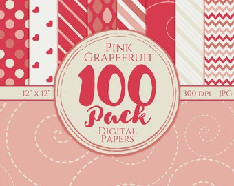 Digital Paper 100 Pack - Pink Grapefruit - Commercial Use, Grapefruit Digital Patterns
