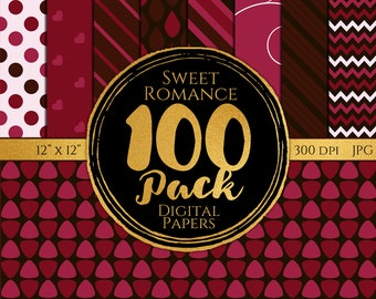 Digital Paper 100 Pack - Sweet Romance - Commercial Use, Sweet Romance Digital Patterns, Romantic Digital Paper