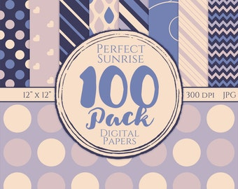 Digital Paper 100 Pack - Perfect Sunrise - Commercial Use, Perfect Sunrise Digital Patterns