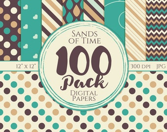 Digital Paper 100 Pack - Sands of Time - Commercial Use, Sands of Time Digital Patterns