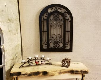 Miniature dollhouse distinctive wrought iron atyle decorative piece for interior or exterior