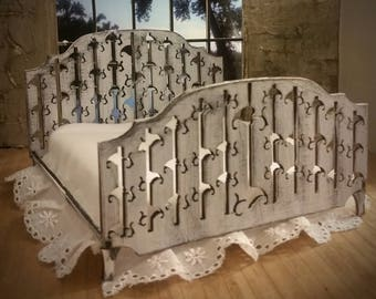 Miniature Dollhouse Fallen Leaf Engraved Bed 1:12 Scale Finished in Chalky Distressed White Available Unfinished