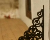 Set of 2 miniature dollhouse wrought iron style small cornice pieces 1 12 scale