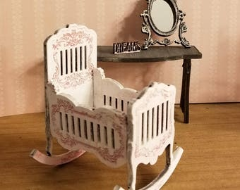 Miniature Dollhouse Petal Pink, Appleblossom Or Unfinished Baby Rocking  Cradle 1:12 Scale