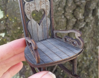 Miniature Sweetheart Rocking chair in Arlington Grey finish 1:12 Scale ACTUALLY ROCKS!