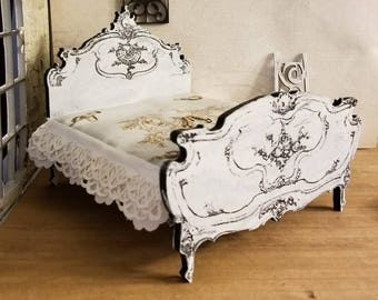 Gorgeous miniature dollhouse reproduction of a Louis XV style bed 1:12 Scale
