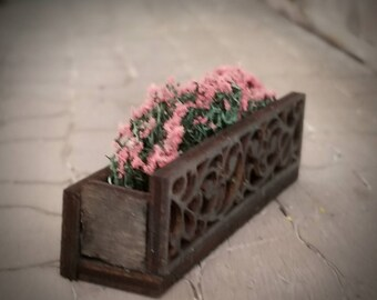 Miniature dollhouse flower box 1:12 scale wrought iron style