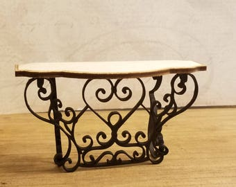 Lovely Miniature Dollhouse Wrought Iron Style Scrollwork look side table. Top Unfinished wood.  1:12 Scale