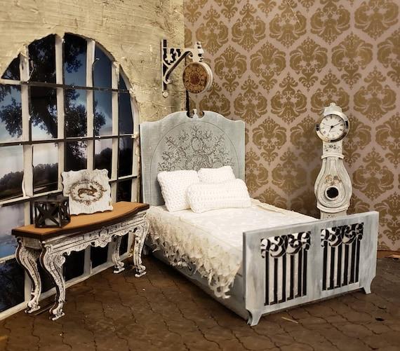 Puppenstube Graviert Französisches Doppelbett 0112 Maßstab Etsy