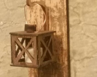Miniature dollhouse hanging lantern with candle 1:12 scale