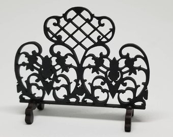 Miniature dollhouse fireplace screen in wrought iron style 1:12 scale