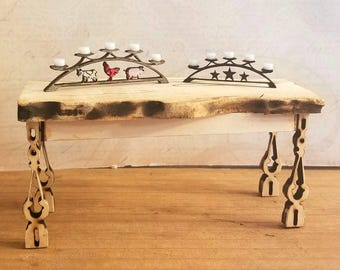 Miniature Dollhouse wrought iron style candleabra with acryic candles Farm Animals or Stars 1:12 scale