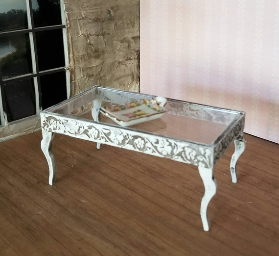 Miniature Dollhouse Coffee Table With Floral Accents And Etsy