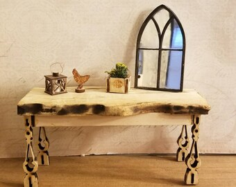 Miniature Dollhouse reclaimed style spalted sycamore table or kitchen island 1:12 scale