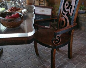 Whimsy Chair Miniature Dollhouse Dining Chair Made from real hardwood 1:12 Scale Available in Walnut or Distressed White