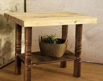 Miniature Dollhouse farm butcher block style table or island 1:12 scale