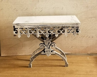 Miniature dollhouse Antique Style French Fleur de Lis Pastry table unfinished or French Chalky Grey 1:12 scale