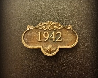 Custom Miniature Dollhouse Address Number or Name Plaque in Unfinished wood or Wrought Iron Style with Gold 1:12 or 1 /24 Scale