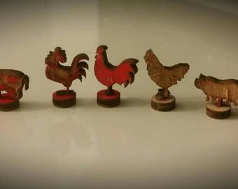 Charming miniature dollhouse farm animal wooden decor accent pieces 1:12. Choose 1 from 6 styles