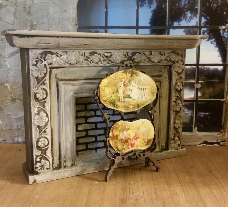 Elegant Solid Wood Dollhouse Miniature Furniture Fireplace Marble Top Vintage