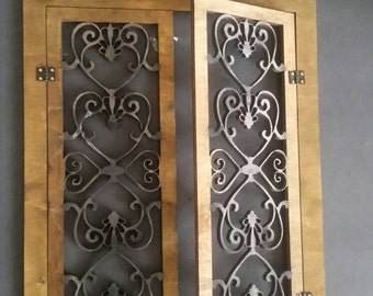 Miniature dollhouse wrought iron style double french doors 1:12 scale