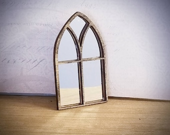 Miniature Dollhouse Gothic Style Window mirror 1:12 Scale Unfinished, Black, White or Bronze