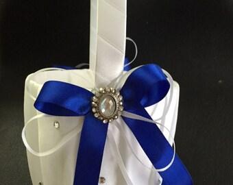 FLOWER GIRL BASKET White and Royal Blue