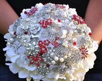 BROOCH Bouquet RED and WHITE