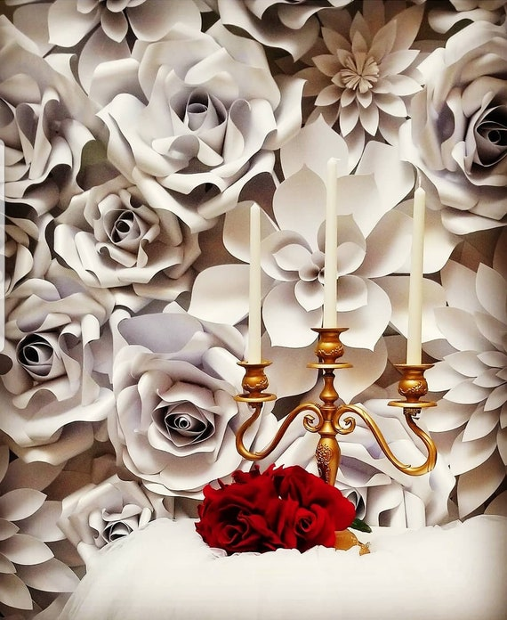 White Paper Flower Wall Back Drop Decor Large Paper Flowers By