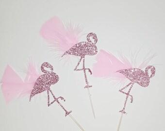 Flamingo cupcake toppers