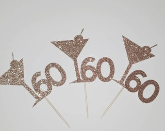 Age and martini glass cupcake toppers/12toppers