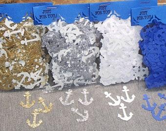 200 Anchor Confetti Gold Silver Glitter Confetti White Blue Nautical Decor Military Wedding Confetti Sailing Decor Nautical Wedding Confetti