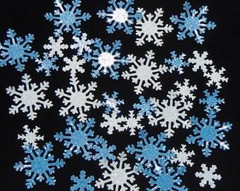 40 Glitter Snowflake Confetti Assortment Blue and White, Snowflake Christmas Decoration, Glitter Snowflake Scrapbook Embellishment
