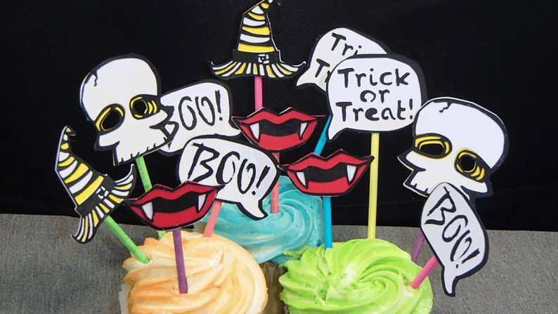 12 Halloween Cupcake Toppers Skull Witch Hat Vampire Fangs Etsy