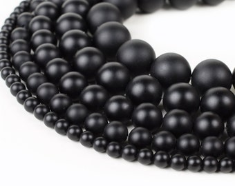 "Matte Black Onyx Beads 4mm 6mm 8mm 10mm 12mm Genuine Natural Stones 15.5"" Full Strand Wholesale"