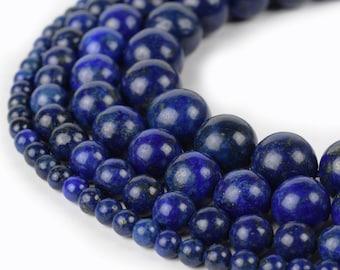 "Lapis Lazuli Beads Round 4mm 6mm 8mm 10mm 12mm 15.5"" Strand Loose Beads"