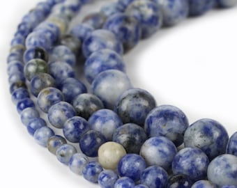 "Natural Blue Spot Jasper Beads 15.5"" strand Genuine 4mm 6mm 8mm 10mm 12mm"