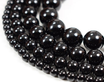 """Natural Black Onyx Beads Polished Agate 4mm 6mm 8mm 10mm 12mm 14mm Genuine Natural Stones, 15.5"""" Full Strand Wholesale"""
