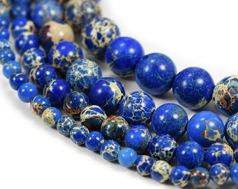 "Blue  Sea Sediment Jasper Beads 4m 6mm 8mm 10mm 12mm Regalite Round Imperial Impression Stone, 15.5"" Full Strand"