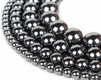 "Hematite Beads 4mm 6mm 8mm 10mm 12mm Loose Gemstone Round 15.5"" Full Strand Wholesale"