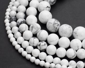 c59958454660 Natural White Howlite Beads 4mm 6mm 8mm 10mm 12mm Round 15.5