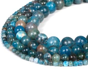 "Natural Apatite Beads 4mm 6mm 8mm 10mm 12mm Wholesale Round Gemstone 15.5"" Full Strand mala stones"