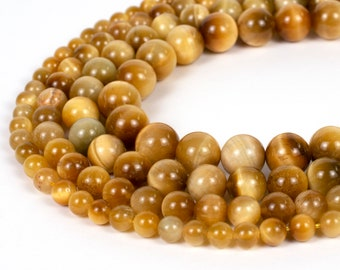 "Gold Tiger Eye Beads Honey 4mm 6mm 8mm 10mm 12mm Wholesale Round Gemstone 15.5"" Full Strand mala stones"